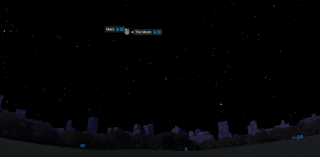 A diagram showing the location of the nearly-full moon and Mars early on Oct. 3, 2020, as seen from New York City.