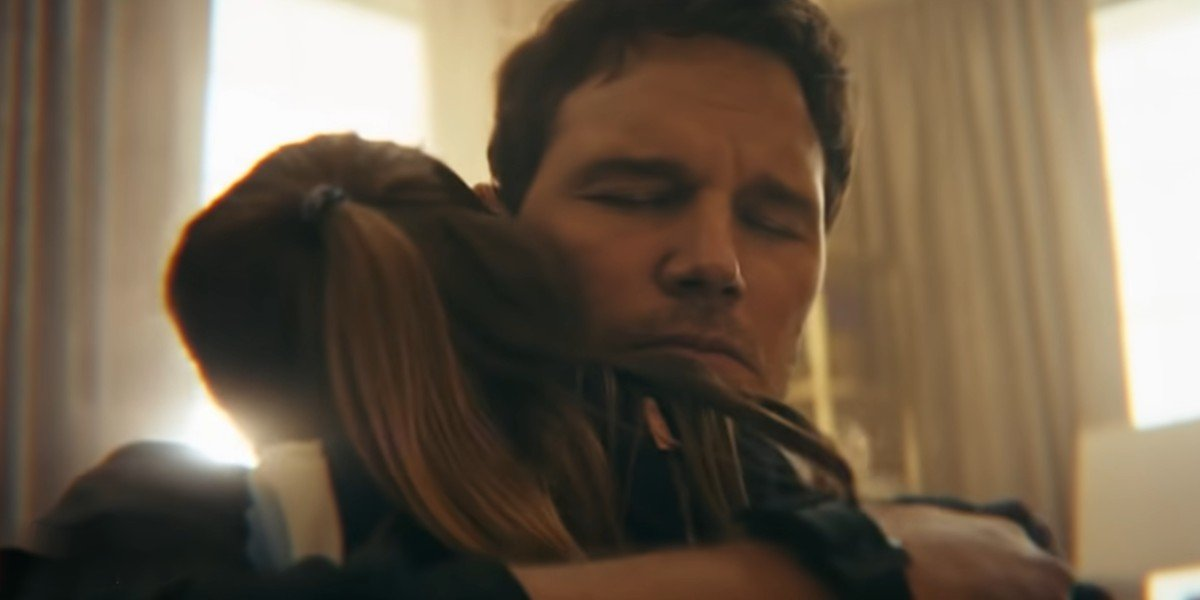 Chris Pratt holding on to his onscreen daughter in The Tomorrow War trailer