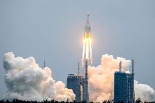 A Long March 5B rocket, carrying China's Tianhe space station core module, lifts off from the Wenchang Space Launch Center in southern China's Hainan province on April 28, 2021