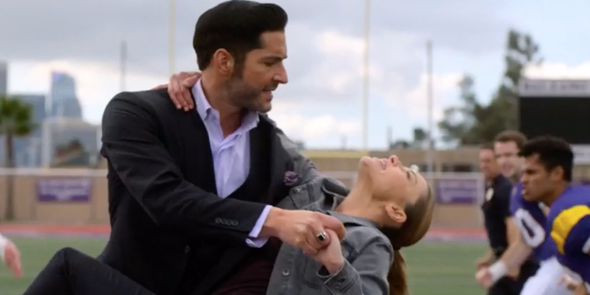 Tom Ellis as Lucifer Morningstar and Lauren German as Chloe Decker in Lucifer.