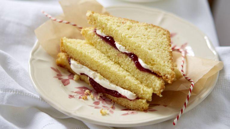 Jam and cream Victoria sandwiches