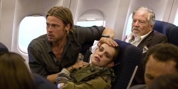 World War Z Brad Pitt Anxious Airplane