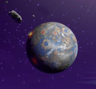 illustration of earth being bombarded by space rocks