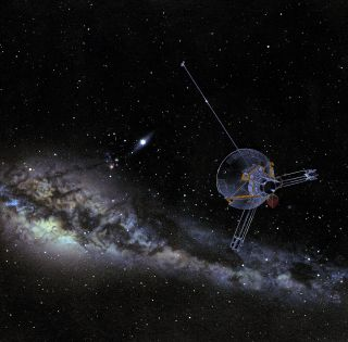 Artist's view of Pioneer spacecraft in interstellar space.