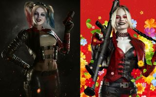 Harley Quinn as she appears in Injustice 2 and The Suicide Squad