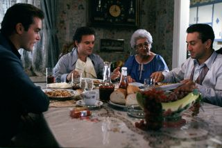 Henry Hill, Tommy Devito and Jimmy Conway have dinner with Devito's mother in Goodfellas