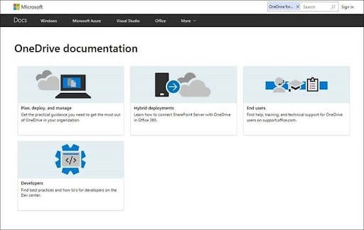 OneDrive's cloud storage support homepage