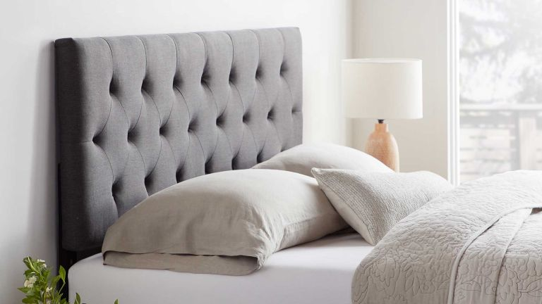 Bedroom: Rest Haven Upholstered Diamond Tufted Mid Rise Headboard