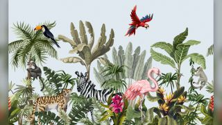 illustration of jungle plants and animals