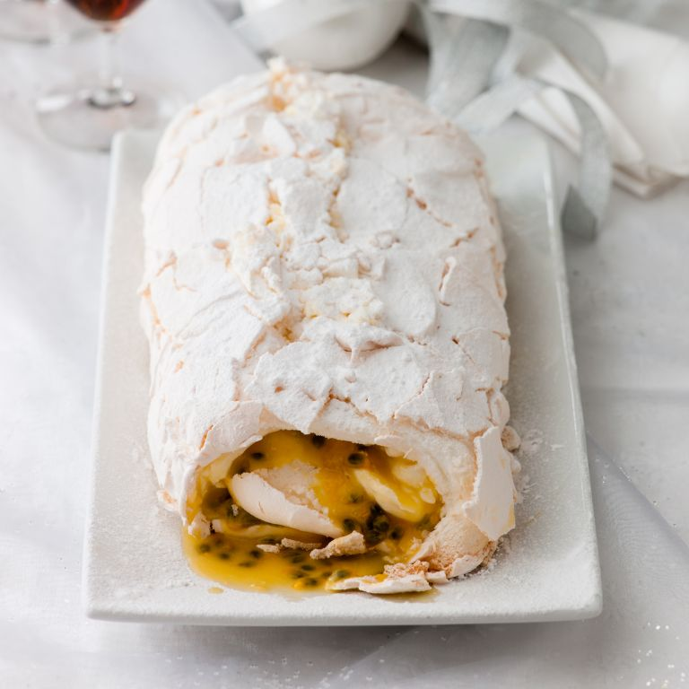 Meringue Roulade with Orange and Passion Fruit