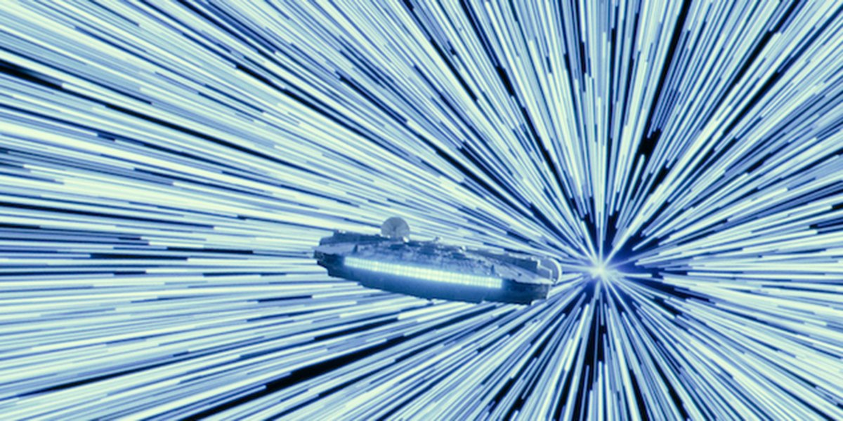 The Millennium Falcon going into hyperspace