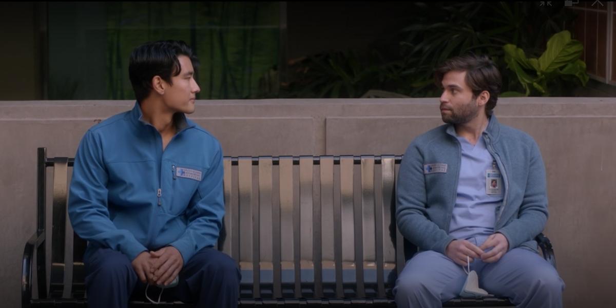 Grey's Anatomy Nico and Levi Schmitt on a bench