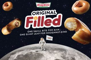 "Timed with the 50th anniversary of the first moon landing, Krispy Kreme's new Original Filled doughnuts are ""one small bite for man, one giant leap for doughnut-kind."""