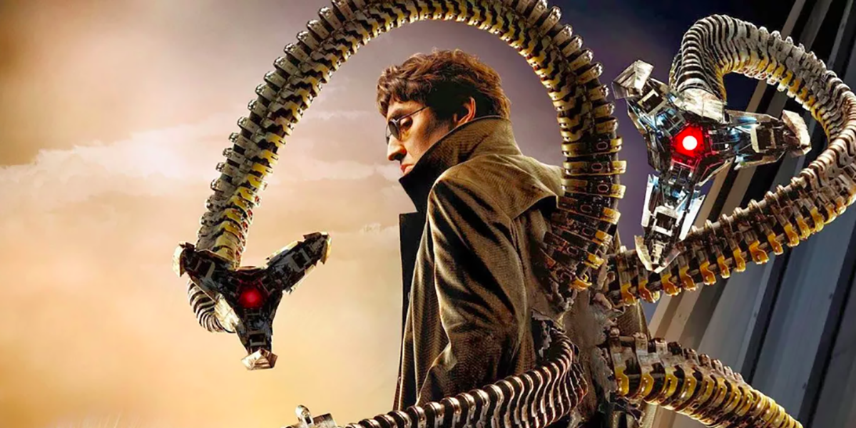 Alfred Molina staring back as Doctor Octopus for Spider-Man 2