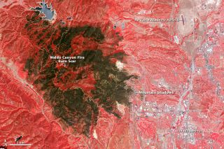 Waldo canyon fire burn scar snapped by a satellite.