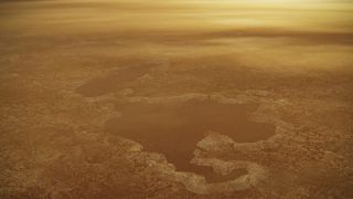 An artist's depiction of a lake near Titan's north pole.