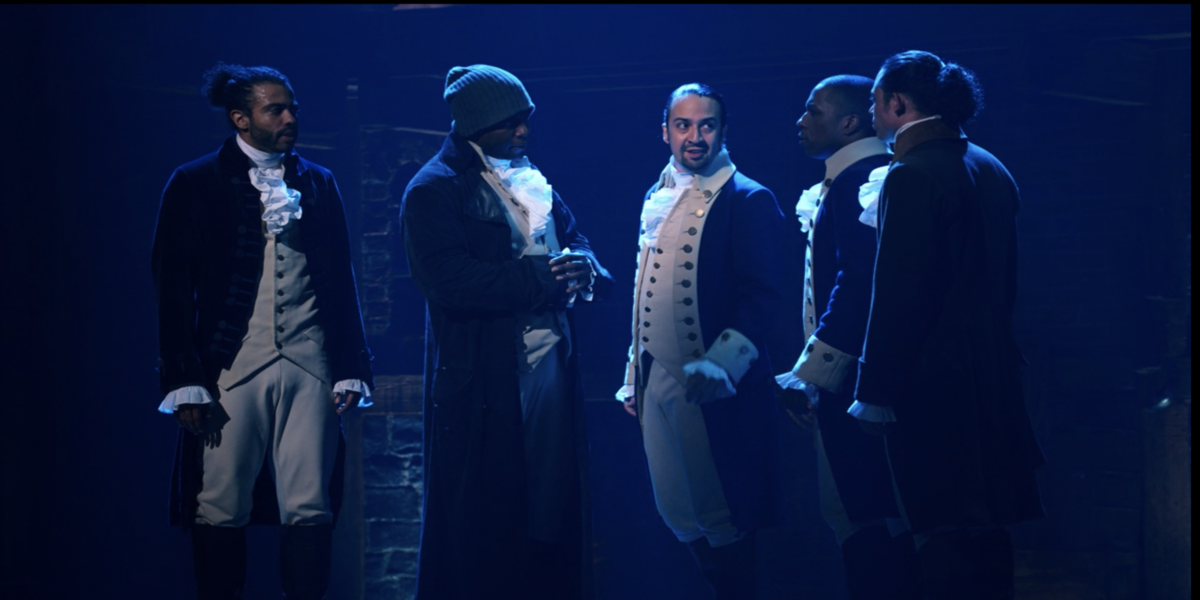 The male leads of Hamilton in Right Hand Man