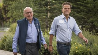 Rupert Murdoch (left) and his son Lachlan Murdoch at the Allen & Co. Media and Technology Conference in Sun Valley, Idaho, U.S., on Friday, July 13, 2018.