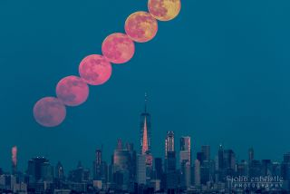 The full Strawberry Moon rises over Manhattan in this photo taken by John Entwistle on June 9, 2017.