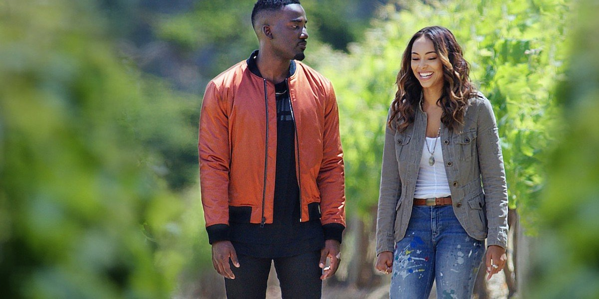 Amber Stevens West and Shamier Anderson in Love Jacked