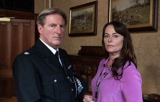 Adrian Dunbar as Hastings and Polly Walker as Gill in Line of Duty