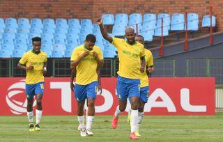 Mosa Lebusa celebrates his goal with teammates