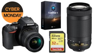 Nikon D3500 twin lens bundle with Luminar and a 32GB SD card at best ever price for Cyber Monday