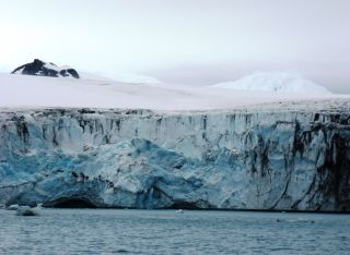 Ice from an Antarctic glacier falls into the sea.
