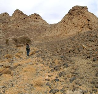 Abigail Allwood treks towards a series of mud mounds in the Morocco desert.