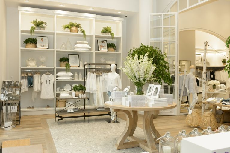 The White Company shop floor with plants and products