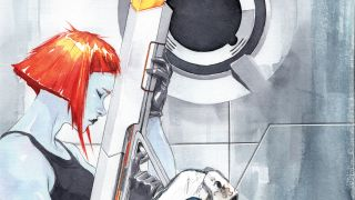 Watercolour painting of a futuristic woman sitting holding a gun