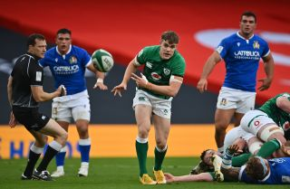 Garry Ringrose of Ireland makes it out of the scrum against Italy in the Six Nations match in Dublin.