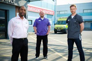 Casualty stars Tony Marshall, Charles Dale and Richard Winsor.