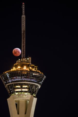 The total lunar eclipse of April 4, 2015 dominates this stunning photo by veteran astrophotographer Tyler Leavitt in Las Vegas, Nevada. Leavitt captured the eclipse with the Stratosphere hotel and casino.