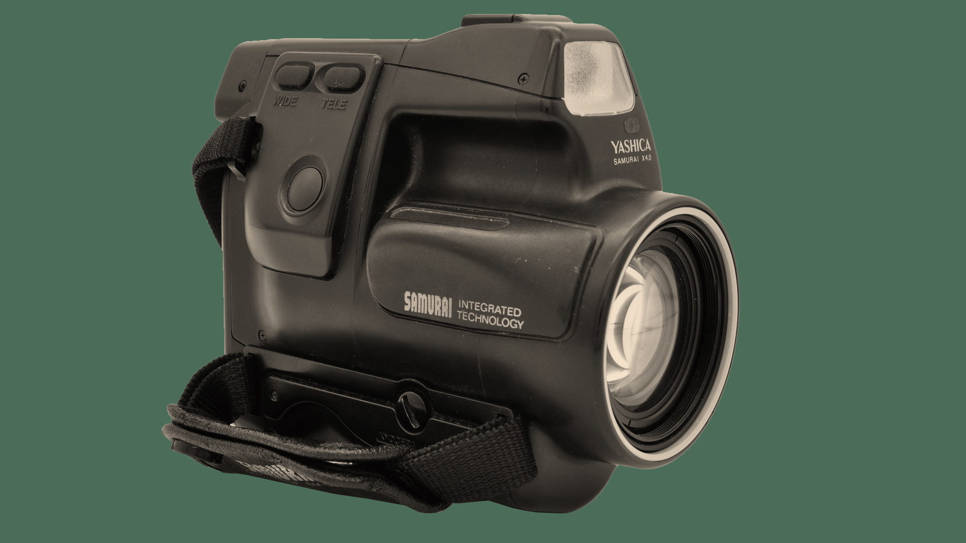 The front of the Kyocera Samurai camera on a green background