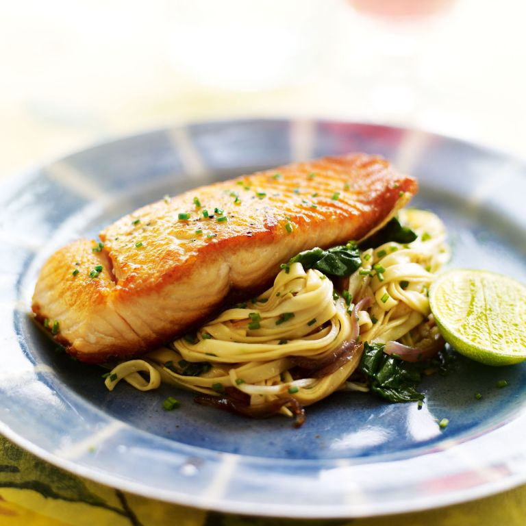 Seared Salmon with Spinach and Soy Stir-Fried Noodles recipe-recipe ideas-new recipes-woman and home