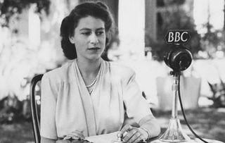 Princess Elizabeth at the microphone