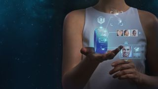 Concept art of a woman holding a futuristic smartwatch with a wraparound display