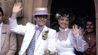 Elton John and Renate Blauel on their wedding day