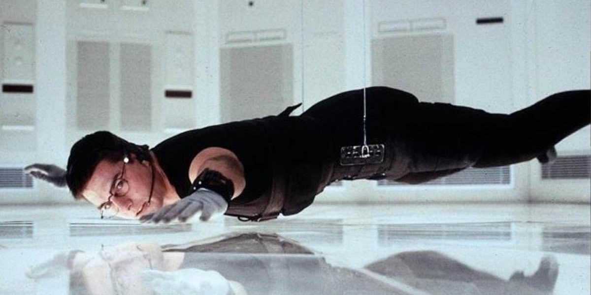 Tom Cruise hanging in Mission: Impossible
