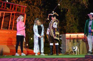 "From left: Casey Latto, Erica Dechowitz and Jon Lovitz in ABC's ""Holey Moley"""