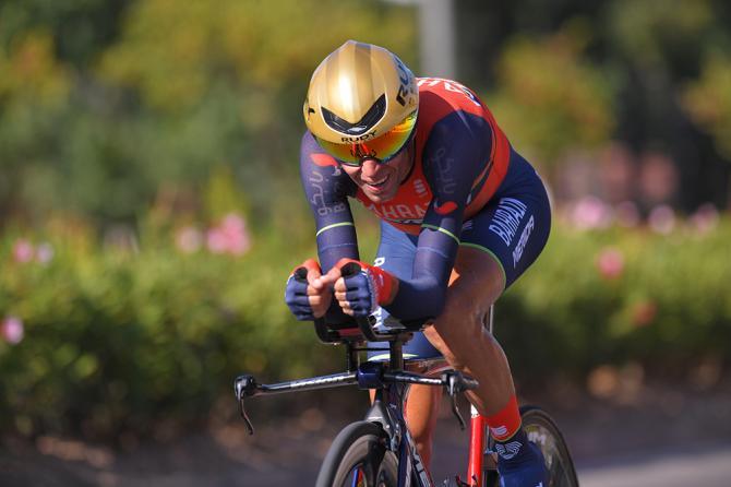 Vincenzo Nibali (Bahrain Merida) on stage 16 of the Vuelta a Espana