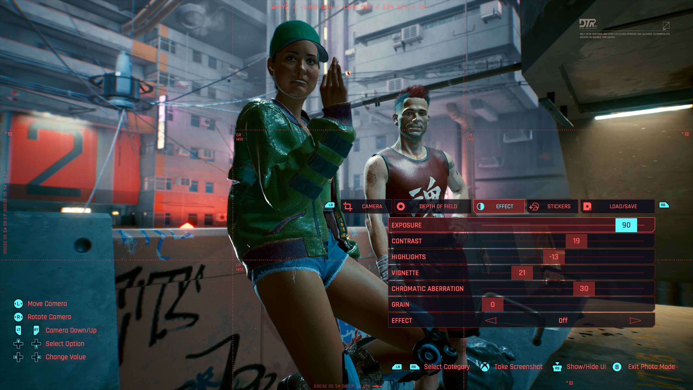 Cyberpunk 2077 photo exposure