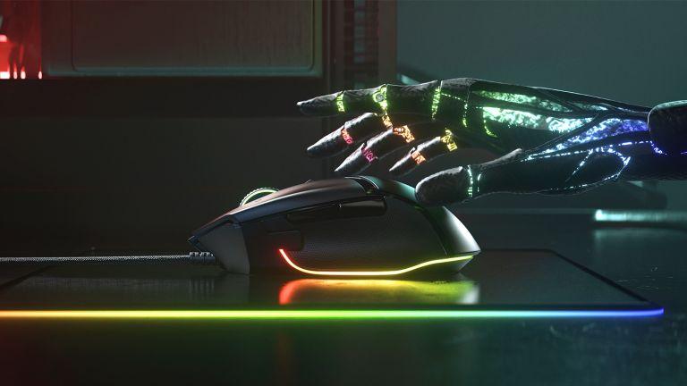 The best gaming mouse 2021 hero image showing Razer Basilisk V3 with RGB lighting on