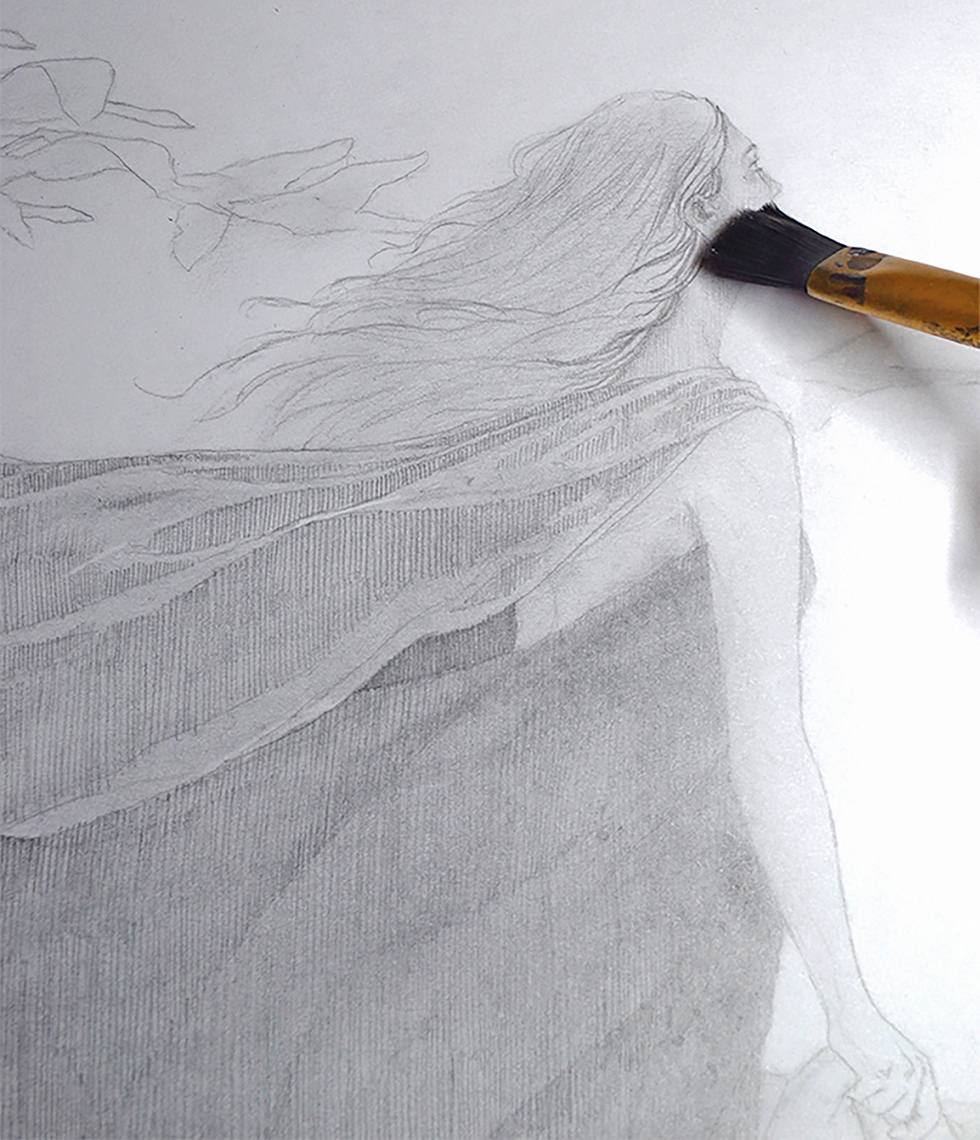 Pencil hatches softened with a brush pass of graphite powder