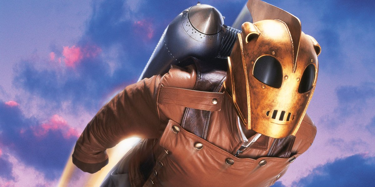 The Rocketeer soaring through the sky.