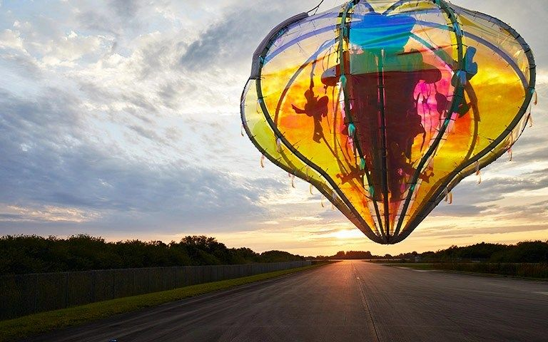 Artists launch colorful 'jellyfish' balloon to the stratosphere in inaugural test flight
