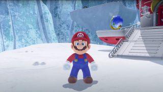 Mario standing on a platform in Super Mario Odyssey