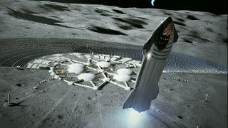 Artist's illustration of SpaceX's Starship vehicle near the moon.