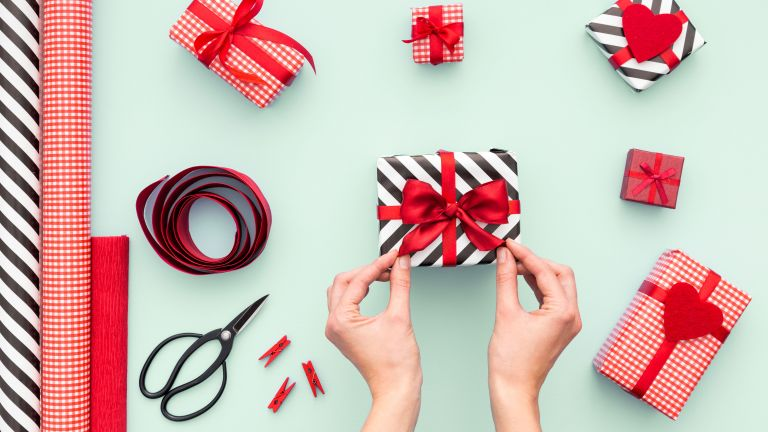 christmas gift wrap by getty images